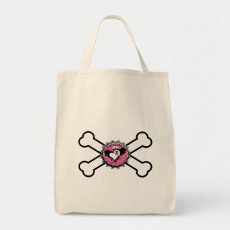 emo skull winged heart bottlecap crossbones bag