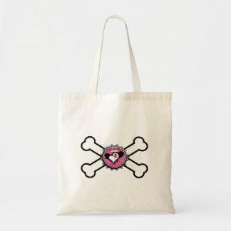 emo skull winged heart bottlecap crossbones tote bag