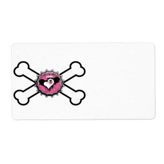 emo skull winged heart bottlecap crossbones custom shipping label