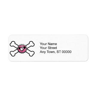 emo skull winged heart bottlecap crossbones custom return address label