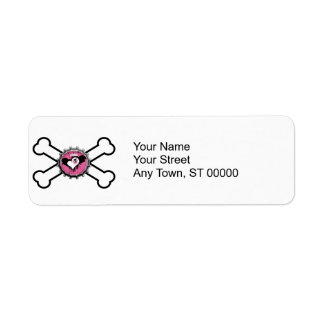 emo skull winged heart bottlecap crossbones label