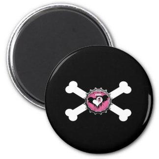 emo skull winged heart bottlecap crossbones magnet