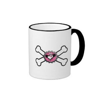 emo skull winged heart bottlecap crossbones ringer coffee mug