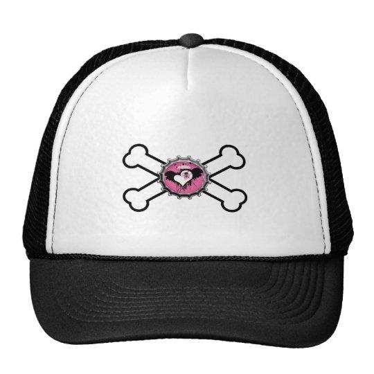 emo skull winged heart bottlecap crossbones trucker hat
