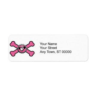 emo skull winged heart bottlecap pink crossbones label