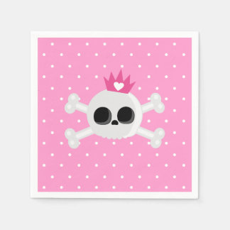 Emo Skull with Pink Background Paper Napkin