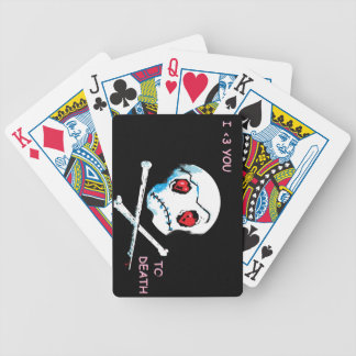"Emo Skulls & Hearts : ""I love you death"" accessory Bicycle Playing Cards"