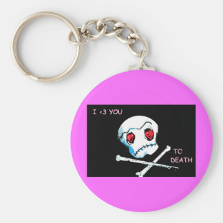 "Emo Skulls & Hearts : ""I love you death"" accessory Keychain"