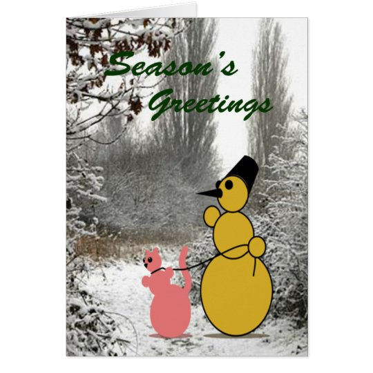 EMO Snowman And EMO Cat Greeting Card