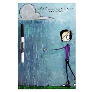 Emo style guy rain clouds blue hand-painted Custom Dry-Erase Board