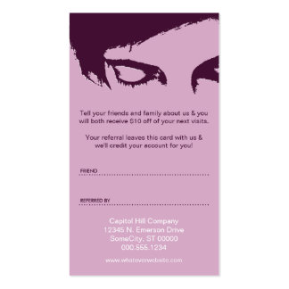 emo style refer a friend business card