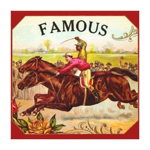Emoción de la carrera de caballos del vintage de l lona envuelta para galerías
