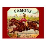 Emoción de la carrera de caballos del vintage de l postal