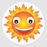 emoción del sol etiqueta redonda