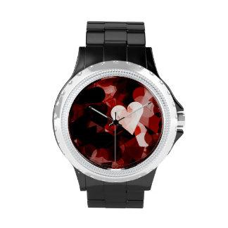 Emoción roja de los corazones del amor verdadero relojes de pulsera