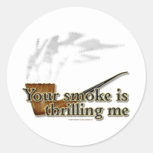 Emociones del humo etiqueta redonda