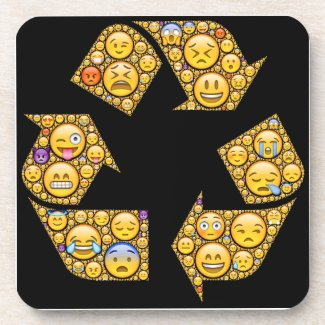 Emoji-art emotional expressions in recycle symbol drink coasters