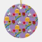 Emoji Beauty Purple Pattern Ceramic Ornament