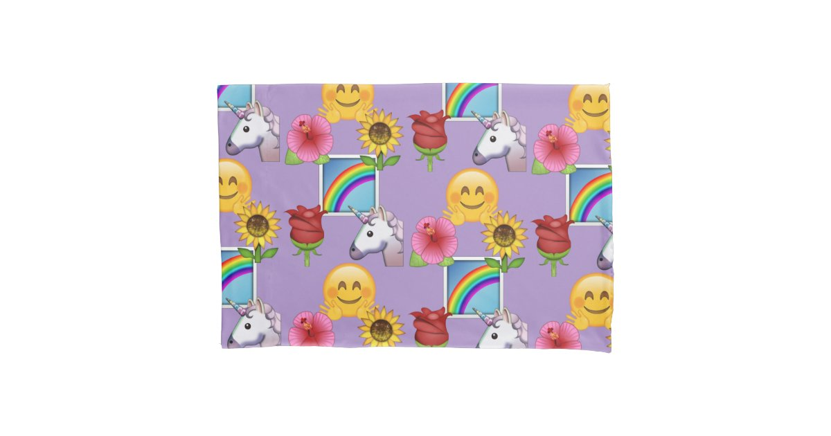 Emoji Beauty Purple Pattern Pillow Case   Zazzle com
