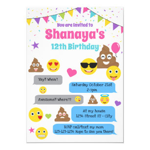 Emoji Birthday Invitation Party Invite