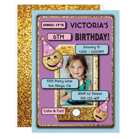 Emoji Birthday Party Cell Phone Text Invitation