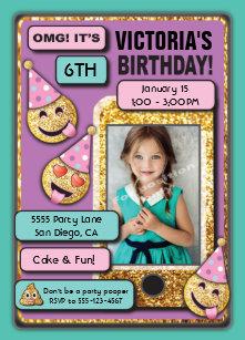 Emoji Birthday Party Cell Phone Text Invitation