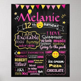Emoji Birthday party chalkboard sign pink girl Poster