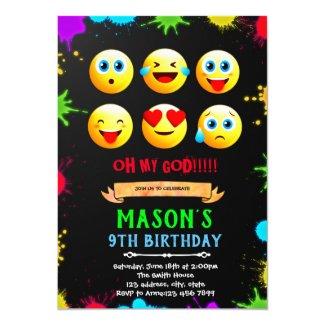 Emoji birthday party invitation card