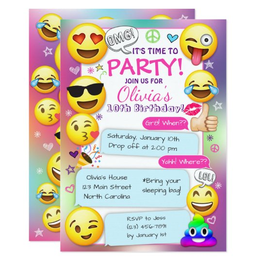 Emoji Birthday Party Invitations, Girl Emoji Party Card