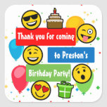 Emoji Birthday Party Kids or Boys Thank You Square Sticker