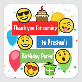 Emoji Birthday Party Kids or Boys Thank You Square Sticker