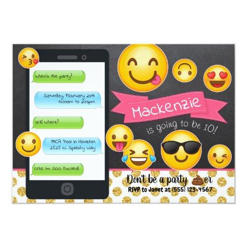 Emoji Chalkboard Glitter Birthday Invitations