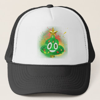 Emoji Christmas Tree Spray Paint Trucker Hat