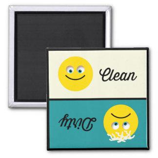 Emoji Clean Dirty Dishwasher Teal Cream Magnet