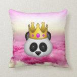 Emoji Crowned Panda Throw Pillow