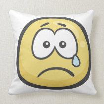 Emoji: Crying Face Throw Pillow