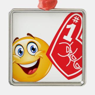 emoji de la fan de deportes adorno navideño cuadrado de metal