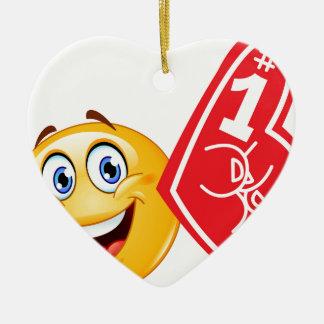 emoji de la fan de deportes adorno navideño de cerámica en forma de corazón
