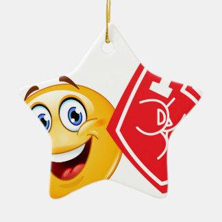 emoji de la fan de deportes adorno navideño de cerámica en forma de estrella