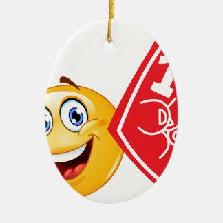 emoji de la fan de deportes adorno navideño ovalado de cerámica