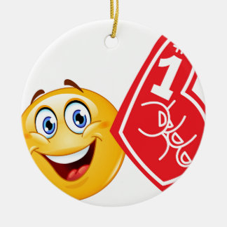 emoji de la fan de deportes adorno navideño redondo de cerámica
