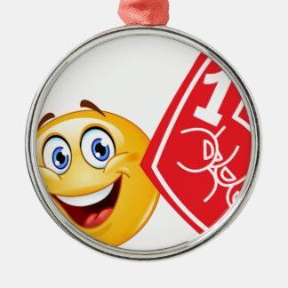 emoji de la fan de deportes adorno navideño redondo de metal
