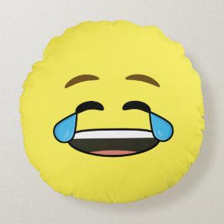 Emoji de risa cojín redondo
