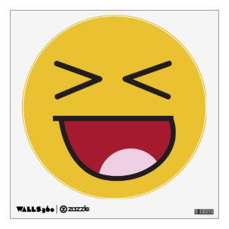 Emoji de risa observado cruzado divertido vinilo adhesivo