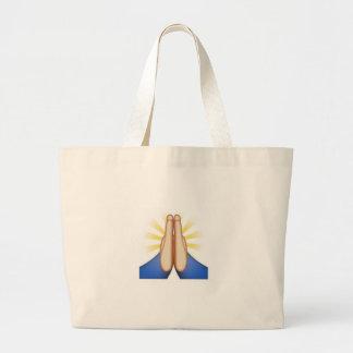 emoji de rogación bolsa tela grande