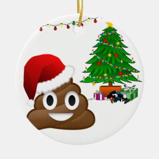 emoji del poo del navidad adorno navideño redondo de cerámica