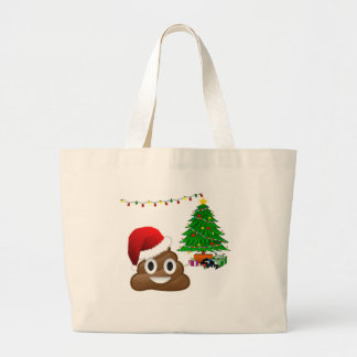 emoji del poo del navidad bolsa de tela grande