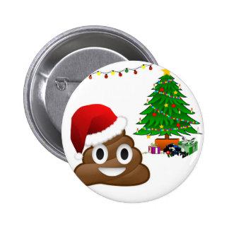 emoji del poo del navidad pin redondo de 2 pulgadas