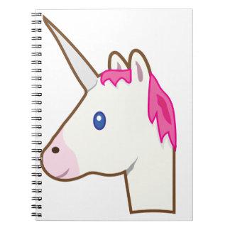 Emoji del unicornio libro de apuntes con espiral