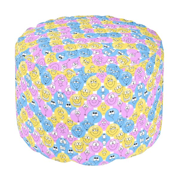 Emoji Design Funny Pink, Yellow and Blue Faces Pouf